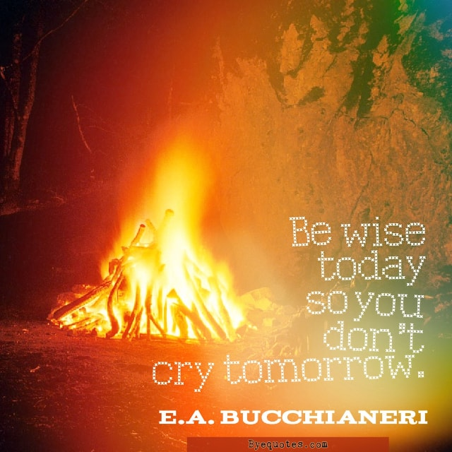 "Quote from Byequotes.com - ""Be wise today so you don't cry tomorrow"". - E.A. Bucchianeri"