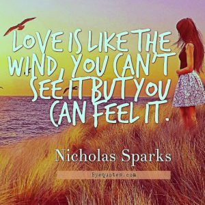 """Quote from Byequotes.com - """"Love is like the wind, you can't see it but you can feel it"""". - Nicholas Sparks"""