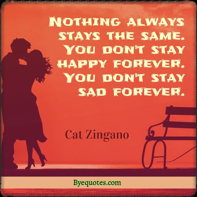 "Quote from Byequotes.com - ""Nothing always stays the same. You don't stay happy forever. You don't stay sad forever."" - Cat Zingano"