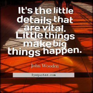 """Quote from Byequotes.com - """"It's the little details that are vital. Little things make big things happen"""". - John Wooden"""