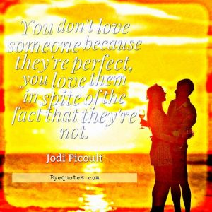"Quote from Byequotes.com - ""You don't love someone because they're perfect, you love them in spite of the fact that they're not"". - Jodi Picoult"